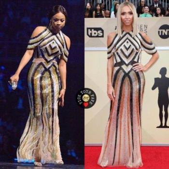 Bonang Matheba and Giuliana Rancic sparkle in this Steven Khalil Dress