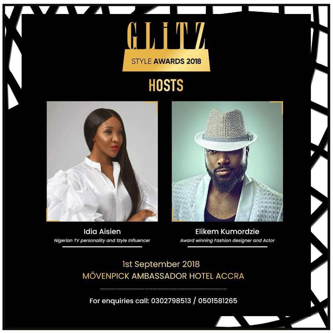 Idia Aisien and Elikem kumordzie Set To Host 2018 Glitz Style Award