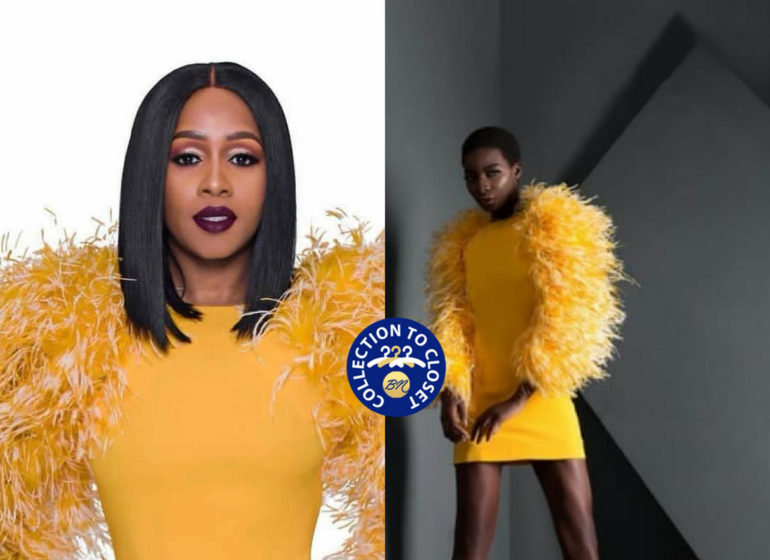 Remy Ma chose the yellow Ines shift dress from The Muse Factory Spring Summer2018 Effervescence Collection!, Remy Ma rocked the dress in an Ad campaign as the new face of Dark and Lovely's #FadeResist Icon Collection.