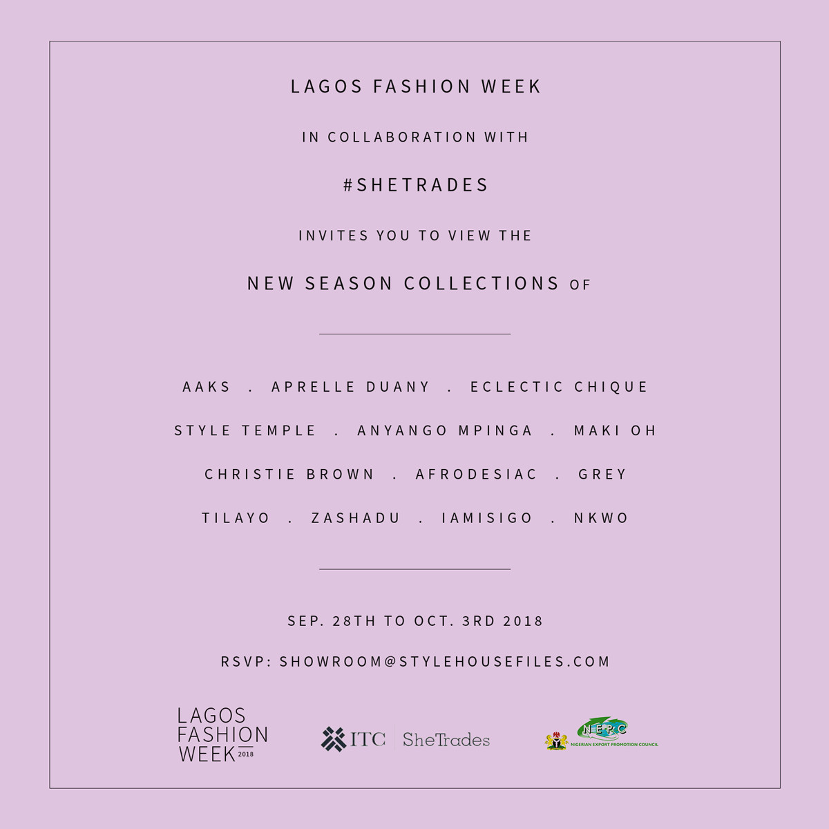 Lagos Fashion Week in Collaboration with SheTrades Nigerian Export Promotion Council (NEPC) Present Paris Showroom