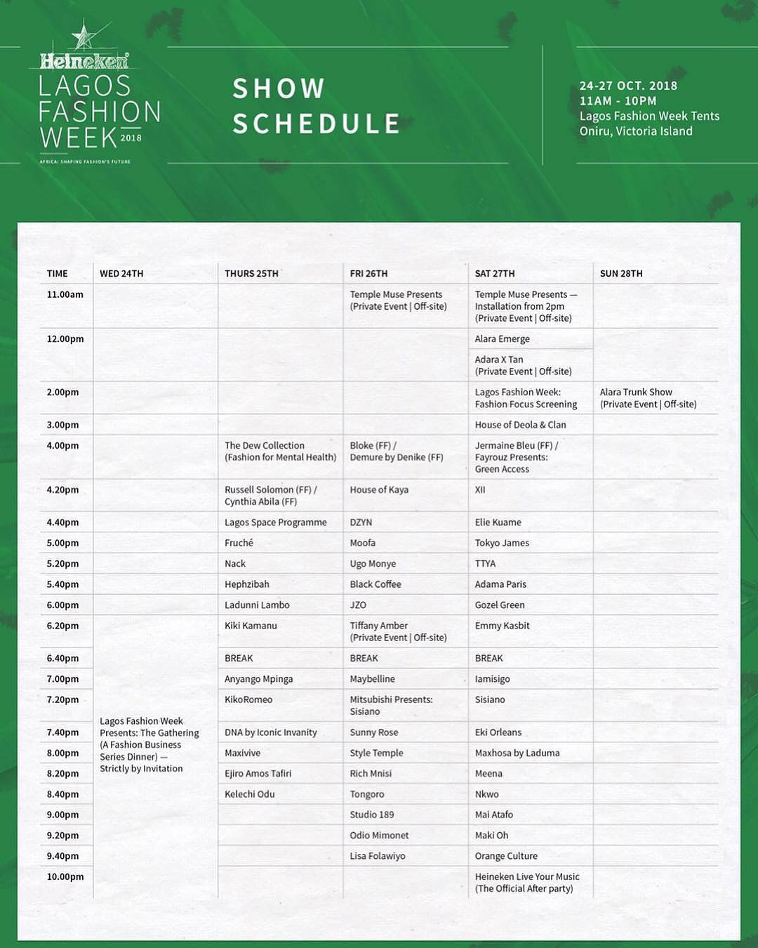 Here Are Is The Full Schedule And 49 Designers Showcasing At Lagos Fashion Week 2018